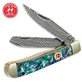 Kissing Crane Genuine Abalone Damascus Trapper Pocket Knife