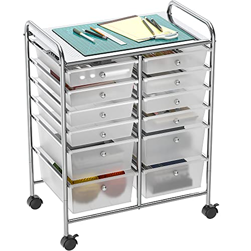 Simple Houseware Utility Cart with 12 Drawers Rolling Storage Art Craft...