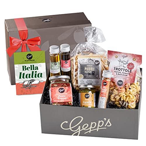 Gepp's Feinkost Bella Italia Geschenkbox I Geschenkkorb für Männer und Frauen I Feinste italienische Delikatessen, hergestellt nach eigener Rezeptur I Geschenk zum Geburtstag, zur Hochzeit (A0001)