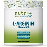 L-ARGININ BASE Kapseln vegan hochdosiert - fermentiert laborgeprüft - 4500mg 100% reines pflanzliches L-Arginine für Männer & Frauen - 360 Caps ohne Magnesiumstearat + Gelatine