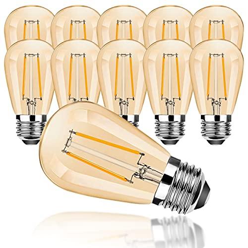 ProCrus E27 S14 LED 2W Bombilla Vintage Edison,Bombillas E27, Bombillas Retro Blancas Cálidas 2700K,Bombillas de 15W Equivalentes,Bombilla de S14 Repuesto,150LM,No Regulable,Paquete de 10