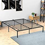 Idealhouse Queen Metal Platform Bed Frame with Sturdy Steel Bed Slats,Mattress Foundation No Box Spring Needed Large Storage Space Easy to Assemble Non-Shaking and Non-Noise Black
