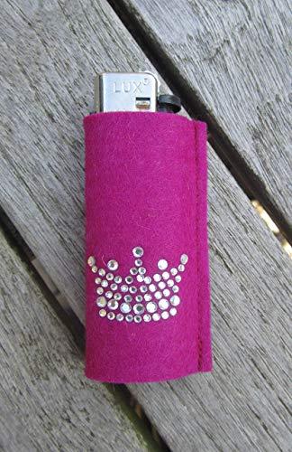 zigbaxx Feuerzeughülle LITTLE CROWN für BIC Feuerzeuge und div. Einwegfeuerzeuge - Feuerzeughülle aus Woll-Filz mit Krönchen Krone aus Strass - Geschenk Frauen Weihnachten Geburtstag