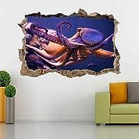UYEDSRウォールステッカーOctopus MarineLifeパウンドウォールステッカーデカール家の装飾アート壁画魚60x90cm