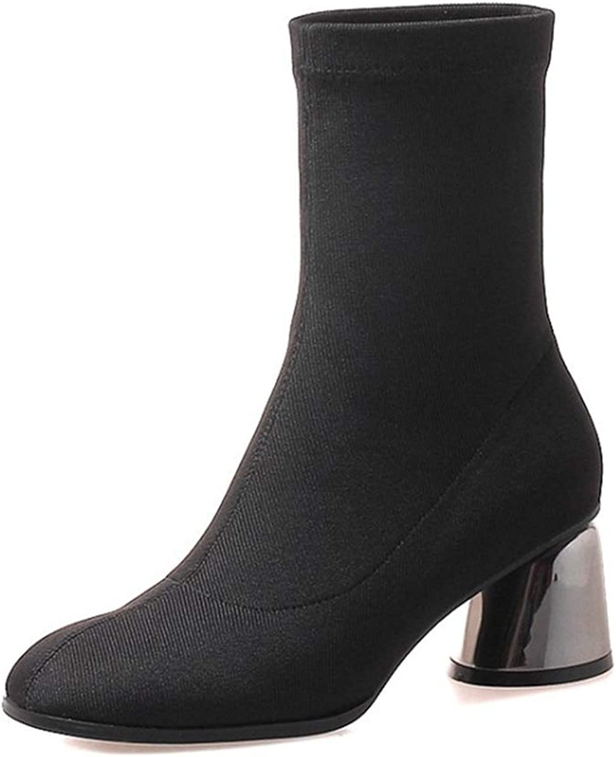 Ladies Booties, High Heel Thick Heel Elastic Boots Winter Comfortable Western Style Fashion Women's Booties (color   A, Size   35)
