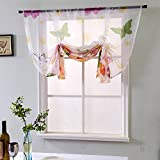 WUBODTI Colorful Butterfly Sheer Tie Up Curtains Kitchen Voile Window Treatments Valance Roman Rod Pocket Tie Up Drapes Curtains Shades for Small Bathroom Bedroom Living Room Windows, 46''W x 63''L