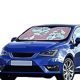 Car Windows Shade Ginkgo Leaves Birds Pattern 55x30 Inch Anti-uv Coating Protect Seats Foldable Polyester and Aluminized Film Sun Car Window Shade