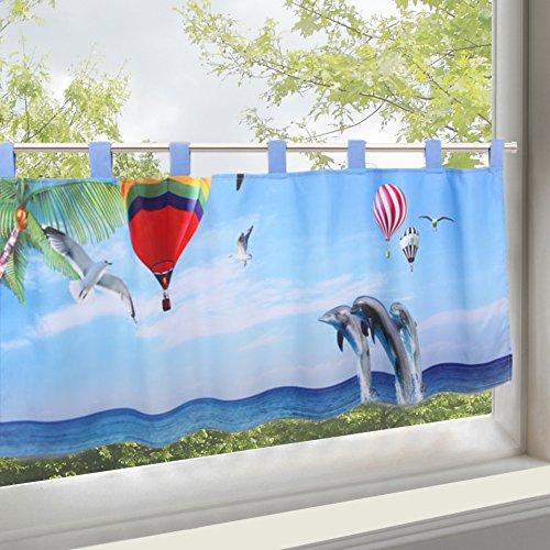 KAMACA Scheibengardine Bistrogardine zartes Voile mit trendigem Fotoprint H/B 45x115 Küchengardine ein Schmuckstück in jeder Küche (Delfine)