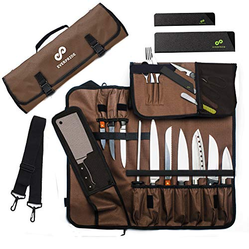 Chef Knife Roll Bag Stores 10 Knives, Meat Cleaver and Kitchen Tools...