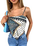 MakeMeChic Women's Tribal Print Tie Back Bandana Cami Crop Top Multi M