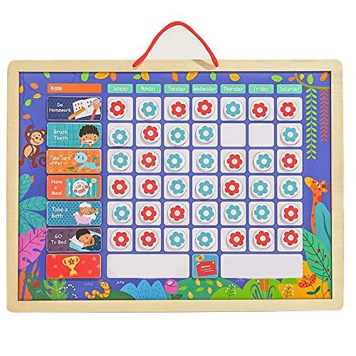 Tableau de récompense magnétique pour enfants pour apprendre les règles, routine quotidienne, 42 fleurs magnétiques et 1 marqueur effaçable à sec, 12 corvées magnétiques, Bois, 12x16Inch