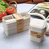 UKKD Fiambrera 900 Ml Bento Platos De Conservación De Los Alimentos En El Microondas Material Celular Almuerzo Sana Capas De Paja De Trigo 3,D Set
