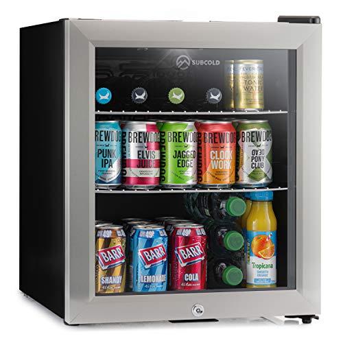 Subcold Super50 LED – Mini Fridge Black | 50L Beer, Wine & Drinks Fridge | LED Light + Lock and Key | Energy Efficient (Stainless Steel)