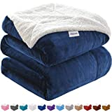 KAWAHOME Sherpa Fleece Blanket Super Soft Extra Warm Thick Winter Blanket for Couch Sofa Bed King Size 108 X 90 Inches Navy Blue