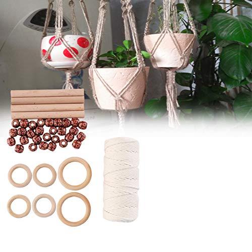 Cuerda de algodón hecha a mano, 100 m 3 mm macramé para colgar plantas, cuerda de macramé de 8 capas para hacer manualidades