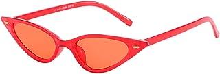 JJLIKER Retro Vintage Narrow Cat Eye Protection Sunglasses for Women Goggles Plastic Frame Skinny Colorful Lens Eyewear