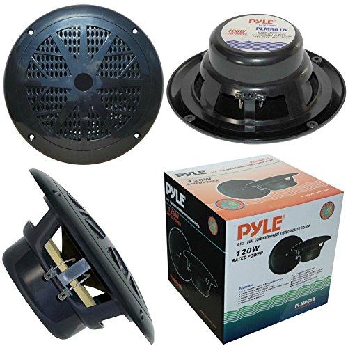 PYLE PLMR61B Couple de Haut-Parleur Double cône Noirs 60 Watt rms 120 Watt Max 16,50 cm de diamètre 165 mm 6,5\