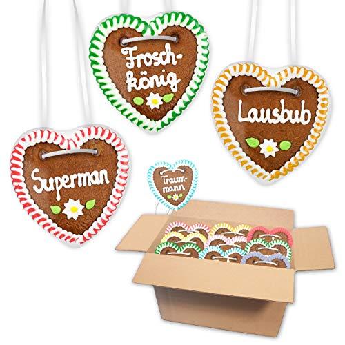 20 Stück Lebkuchen Herz im Mischkarton - 10cm - Premiumqualität - versch. Männer Sprüche | saftigte Lebkuchenherzen frisch gebacken | Oktoberfest Lebkuchenherzen | günstig bestellen | LEBKUCHEN WELT