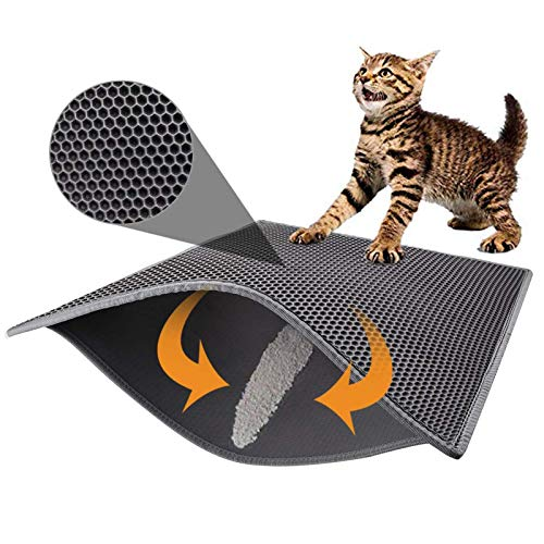 Pieviev Cat Litter Mat Trapper - 76 x 61 cm Honeycomb Double Layer Tapis Litiere Chat -Traps Messes, Easy Clean and Durable, Non Toxic Trapper Rug Suitable for Litter Tray(Grey)