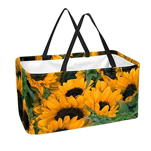 Bolsas reutilizables para comestibles, cesta de la compra, 50 l, con soporte para columna, bolsa de almacenamiento de girasoles