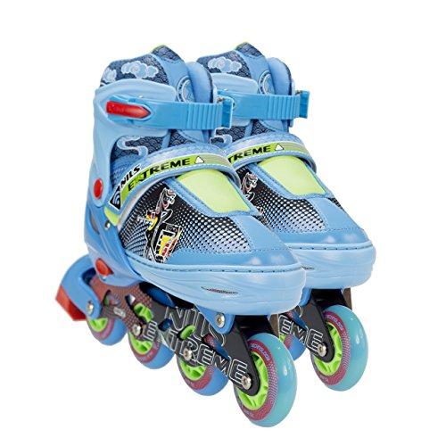 NILS Inliner Kinder Erwachsene Verstellbare Inline Skates | Kinderinliner Größenverstellbar ABEC7 Lager | Inlineskates in Größen 26-37 | LED Rollen | Pink Blau Rot | NJ4605 (Blau, 26-29)