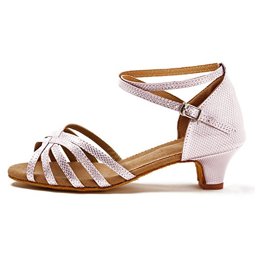 HROYL Zapatos de Baile/Zapatos Latinos de satín Rosa Niñas ES-WZJXGG 34 EU