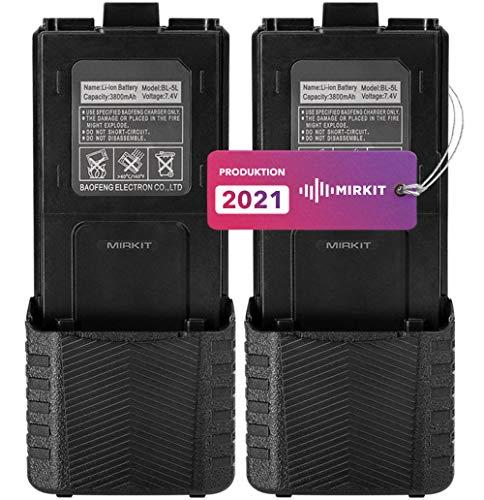 2 baterías Mirkit BL-5 de 3800 mAh – Batería compatible con radio Baofeng UV-5R Plus, Baofeng UV 5R, UV-5RX3 / RD-5R / UV-5RTP / UV-5X3 – Accesorios para Walkie Talkie Baofeng