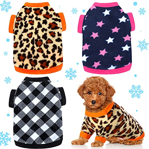 3 Pieces Winter Dog Clothes Warm Dog Shirts Soft Fleece Puppy Clothes Colorful Thickening Dog Pajamas Winter Outfits Dog Sweater for Small Pets Dog Cat Chihuahua Teddy, S