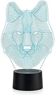 Wolf Head Lamp 3D Lamp LED Night Light Animal Table Lamp Optical Touch Transform 7 Color Lights Birthday Gift Lights Business Gift Lights