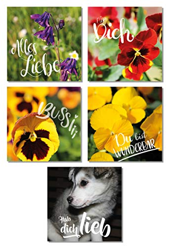 Christa Brühl Lot de 5 cartes de vœux pour la fête des mères avec finition de haute qualité, vernis UV partiel ou vernis en relief