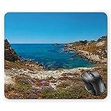 UQ Galaxy Alfombrilla De Ratón,Sicilia Panorámica del Paraíso Mar Playa Cala Paradiso Naturaleza Paisaje Italia Vacaciones 22 * 18Cm