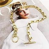 WDam Cadena con Cierre de Palanca, Collares de Oro, Collares Circulares Mixtos entrelazados para Mujer, Gargantilla Minimalista, Oro