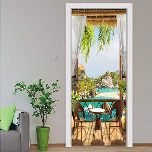 Natürliche Landschaft 3D Vorhang Tür Aufkleber Esszimmer Wohnzimmer PVC selbstklebend wasserdicht 3D Wallpaper klassische Haustür Aufkleber Wandbild Poster