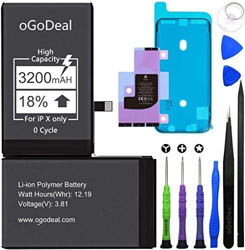 oGoDeal Battery Replacement for iPhone X Battery High Capacity 3200mAh with DIY Repair Kit