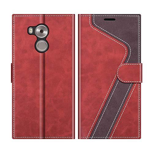 MOBESV Handyhülle für Huawei Mate 8 Hülle Leder, Huawei Mate8 Klapphülle Handytasche Hülle für Huawei Mate 8 / Huawei Mate8 Handy Hüllen, Rot
