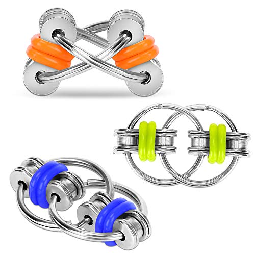 CaLeQi Flippy Chain Fidget Toy Relieves Stress Reducer, ADHD, Anxiety, and Autism (3 Pack)