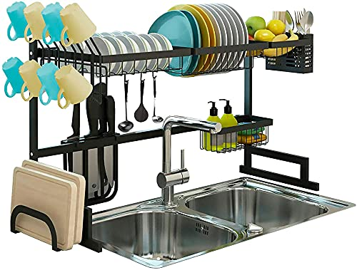 Adjustable (32.5'- 43.3') Over The Sink Dish Drying Rack, 2 Tier Storage for Kitchen Countertop, Rustless Stainless Steel Frame, Space Saver Dish Drainer with with 5 Utility Hooks and 2 Knife Holders