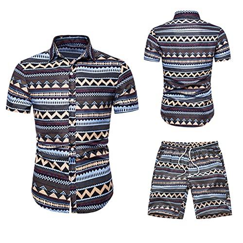 Camicetta Top Uomo Estate Tempo Libero Moda T-Shirt Hawaiana Set di Pantaloncini a Maniche Corte (XL,1grigio)