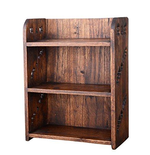 Warm klein huis C-Bin1 retro plank, boekenplank multifunctionele plank pop cosmetische opslag massief hout slaapkamer woonkamer studie 24 * 13 * 32CM meer decoratie