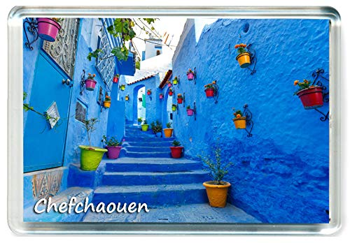 DreamGirl I302 Chefchaouen Jumbo Imán para Nevera Marruecos - Morocco Travel Fridge Magnet