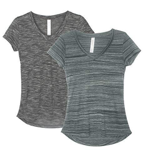 icyzone Damen T-Shirt Kurzarm V-Ausschnitt Yoga Tops Casual Sport Shirt 2er Pack (XXL, Charcoal/Pine)