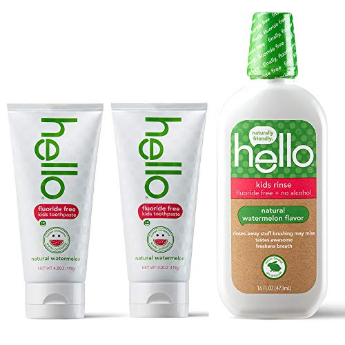 Hello Oral Care Kids Fluoride Free SLS Free Toothpaste Twin Pack with Fluoride Free Rinse, Natural...
