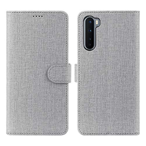 Foluu Oneplus Nord Case, Oneplus Nord 5G Case Canvas Flip/Folio Soft TPU Cover Bumper Kickstand Ultra Slim Strong Magnetic Closure Cover Oneplus Nord 5G 2020 (Gray)