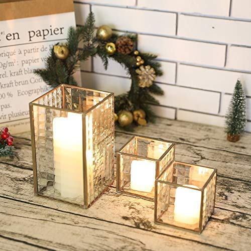 JHY DESIGN Set of 3 Copper Frame Candle Holder with Texture Glass Hurricane Candle Lantern Decorative Box Plant Table Lantern for Plants Bedside Home Decor Party Wedding Garden Table Hallway(Copper)