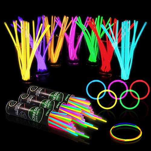 300 Glow Sticks Bulk Party Supplies - Halloween Glow in The Dark Fun Party Pack with 8' Glowsticks and Connectors for Bracelets and Necklaces for Kids and Adults