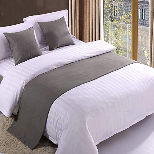BAMCQ Bettläufer Hotel bettwäsche Premium Bett schal Bett Flagge Bett Schwanz pad bettdecke Bett dekorative Streifen grau_50x260 cm (2,0 mt Bett)
