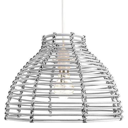 Sombra de iluminación colgante de techo de mimbre de ratán gris estilo cesta tradicional por Happy Homewares