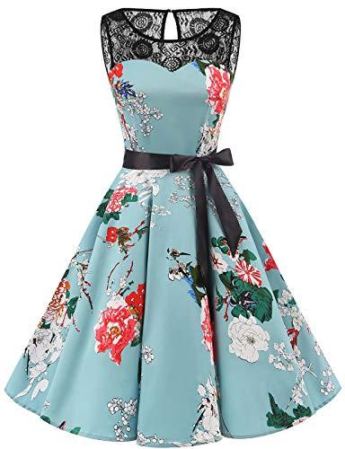 bbonlinedress 1950er Ärmellos Vintage Retro Spitzenkleid Rundhals Abendkleid Green Flower XL