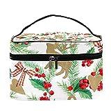 Bolsa de maquillaje de viaje para árbol de Navidad de acuarela con muérdago de bayas, copo de nieve, bolsa de maquillaje grande, organizador de maquillaje, con cremallera, para mujeres y niñas