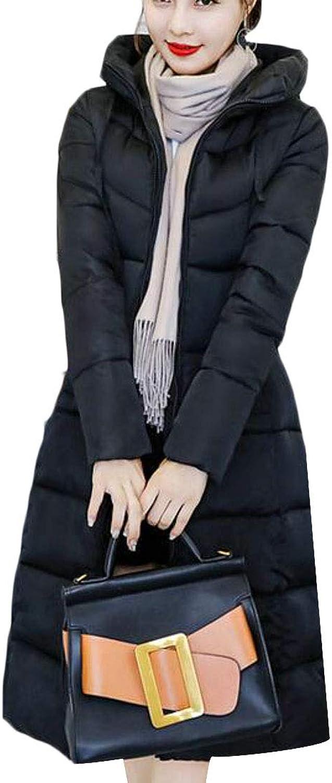 WAWAYA Women's Warm Hoodie Full Zip Winter Long Quilted Jacket Parka Coat Outerwear